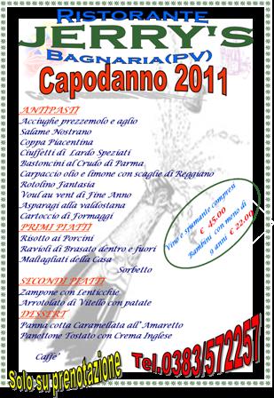 Capodanno 2011 al Ristorante Jerry di Bagnaria in Oltrepò Pavese